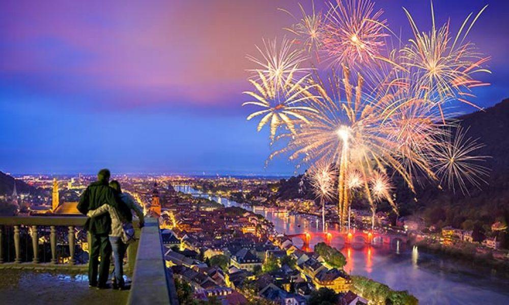 Silvester Feuerwerk über Heidelberg